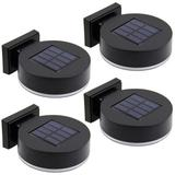 LAKEKYD 12 Leds Solar Fence Lights Wall Mount, 10 Lumen Solar Deck Lights Solar Porch Lights Wall Sconce Warm White Lights For Outdoor, Steps, Yard