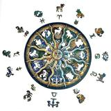 Polar Wooden Jigsaw Puzzles- Round Zodiac Horoscope Unique Shape Wood Puzzle For Adults Kids, Best Gift For Christmas Family Game Play Collection