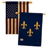 Breeze Decor Midwest French American House Flags Pack Fleur De Lys Country Living Yard Banner 28 X 40 Inches Double-Sided Decorative Home Decor