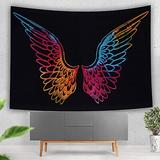 Bungalow Rose Psychedelic Tie Dye Mandala Angel Wings Hippie Boho Indian Tapestry Wall Hanging Throw Symbolizing Hope Faith Love (55X85 Inches)