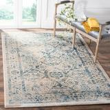 Ophelia & Co. Esperance Oriental Turquoise/Beige Area Rug Polyester/Polypropylene/Cotton/Jute & Sisal in White, Size 79.0 H x 79.0 W x 0.35 D in