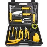 WFX Utility™ Stainless Steel Garden Tool Kit w/ Carrying Case, Heavy Duty Gardening Work Set, Include Pruner, Mini Rake, Big & Small Shovel, Sprayer