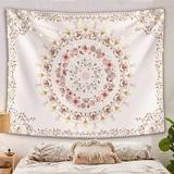 Bungalow Rose Bohemian Mandala Wall Hanging Tapestries, Indian Art Print Mural For Bedroom Living Room Dorm Home Decor in White   Wayfair