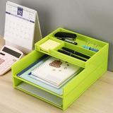 Latitude Run® Plastic Desk Organizer, 3- Tier Stackable Document Tray in Green, Size 5.23 H x 9.64 W x 12.4 D in   Wayfair