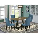 Red Barrel Studio® 4 - Person Acacia Solid Wood Dining Set Wood/Upholstered Chairs in Black/Blue/Brown, Size 30.0 H in | Wayfair