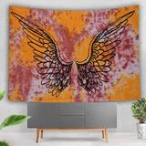 Bungalow Rose Psychedelic Tie Dye Mandala Angel Wings Hippie Boho Indian Tapestry Wall Hanging Throw Symbolizing Hope Faith Love (30X40 Inches)