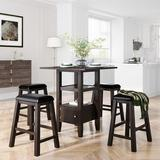 Latitude Run® TOPMAX 5 Pieces Counter Height Wood Kitchen Dining Table Set w/ 4 Upholstered Stools w/ Storage Cupboard & Shelf For Small Places