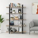 17 Stories 4 Tier Bookshelf Open Storage Display Shelf Tall Bookcase Wood & Metal Freestanding Shelving Unit For Living Room in Brown | Wayfair