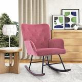 Gemma Violet Modern Velvet Rocking Chair For Living Room Upholstered Comfortable Nursery Rocking Chair w/ Solid Wood Base For Bedroom Accent Chair (Bastien)