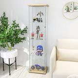 Wrought Studio™ Glass Display Cabinet w/ 4-Shelf Curio Cabinet Floor Standing Glass Showcase w/ Door Bookshelf, Size 64.17 H x 16.9 W x 14.56 D in