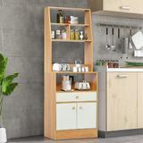 Ebern Designs Floor Cabinet, Large Kitchen Storage Cabinet w/ Doors, Shelves & Drawers, Wood Freestanding Cupboard For Living Room, Entryway in Brown