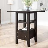 Red Barrel Studio® TOPMAX Counter Height Wood Kitchen Dining Table Set w/ Storage Cupboard & Shelf For Small Places, Gray Wood in Black | Wayfair