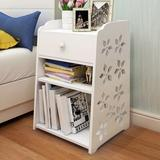 Winston Porter Bedside Tables Cabinet 1 Drawer Night Stand Storage Furniture Shelf Cupboard Wood in Brown/White, Size 19.7 H x 11.8 W x 11.8 D in