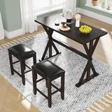 Gracie Oaks Celsea Counter Height Breakfast Nook Dining Set Wood/Upholstered Chairs in Brown, Size 36.0 H in | Wayfair