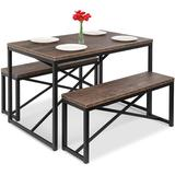 17 Stories Best Choice Products 45.5In 3-Piece Bench Style Dining Table Furniture Set, 4-Person Space-Saving Dinette For Kitchen in Black/Brown