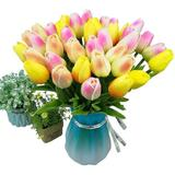 Primrue Artificial Tulips Flowers Real Touch Tulips Fake Holland PU Tulip Bouquet Latex Flowers For Wedding Party Office Home Kitchen Decoration
