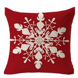 The Holiday Aisle® 2Pcs Merry Christmas Snowflake Tree Print Throw Pillow Cover Case Sofa Bed Car Decor in Red/White, Size 5.5 W in   Wayfair