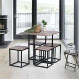 Latitude Run® 5 Piece Dining Set,Dining Table w/ 4Stools,Oak Wood/Metal in Gray, Size 31.5 H in   Wayfair FCCFDE08494C41BFBACAAF5B9C5C66DD