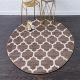 Red Barrel Studio® Moroccan Lattice Round Rug Nordic Simple Carpet Living Room Modern Sofa Tea Table Mat Edside Household Advanced in Brown/White