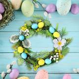 The Holiday Aisle® Easter Party Door Hanging Wreath Wooden Easter Egg Rabbite Bunny Flower Garland For Home Decor Easter Wall Hanging Ornaments