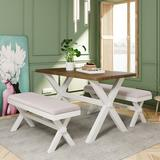 Gracie Oaks 3 Pieces Farmhouse Rustic Wood Kitchen Dining Table Set w/ 2 Upholstered Benches Wood/Upholstered Chairs in White | Wayfair
