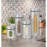 Prep & Savour 4 Piece Brushed Stainless Steel & Glass Canisters w/ Window, Silver in Gray, Size 12.0 H x 4.0 W x 4.0 D in | Wayfair