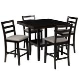 Red Barrel Studio® 4 - Person Counter Height Dining Set w/ Storage Shelving in Brown/Gray, Size 36.0 H x 38.6 W x 38.6 D in | Wayfair