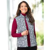 Women's Quilted Animal Print Reversible Vest, Black Leopard/Black 1X