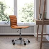 JinLe Office Task Chair - Brown Vinyl - Chrome Frame - Armless - Ribbed Back & Seat - Low Back Design in Gray/Orange   Wayfair A0B1B097J1L2S2