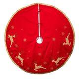 Kurt Adler 54-Inch & Tan Patchwork Reindeer Running Tree Skirt in Red, Size 1.0 H x 54.0 W in   Wayfair TS0252