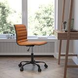 JinLe Office Task Chair - Brown Vinyl - Frame - Armless - Ribbed Back & Seat - Low Back Design in Black, Size 46.0 H x 26.0 W x 29.0 D in   Wayfair