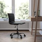 JinLe Office Task Chair - Vinyl - Frame - Armless - Ribbed Back & Seat - Low Back Design in Black, Size 46.0 H x 26.0 W x 29.0 D in   Wayfair