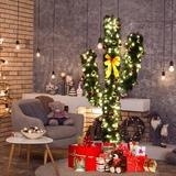 The Holiday Aisle® 6' Artificial Cactus PVC Christmas Tree w/ LED Lights & Ball Ornaments in Green/White, Size 72.0 H x 31.0 W in | Wayfair