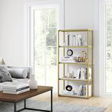 Everly Quinn 5-Shelf Bookcase Industrial Bookshelf w/ Metal Frame & Wood Storage Shelves, Etagere, Gold/White in Brown/White/Yellow   Wayfair
