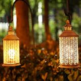 """George Oliver Set Of 2 Metal Table Lamp Battery Powered 10.5"""" Tall Cordless Lamp Light w/ Edison Style Bulb Battery Operated Great For Living Room B Metal"""