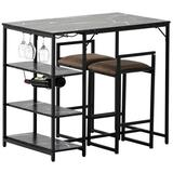 Mercer41 Counter Height 3-Piece Bar Dining Table Set w/ 2 Upholstered Bar Stools/Chairs in Black, Size 35.4 H in   Wayfair