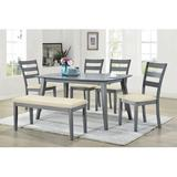 Gracie Oaks Cajan 6 - Person Counter Height Dining Set Wood/Upholstered Chairs in Brown/Gray, Size 39.0 H in   Wayfair