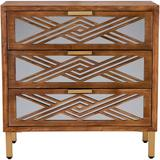 Rosdorf Park 3-Drawer Accent Dresser w/ Mirror Fronts, Modern Farmhouse Accent Chest Clean-Lined Silhouette in Brown | Wayfair