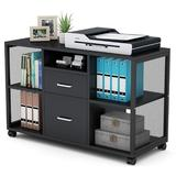 Inbox Zero Mobile File Cabinet w/ 2 Drawers & 5 Open Storage Shelves In in Black, Size 25.79 H x 39.37 W x 15.75 D in   Wayfair