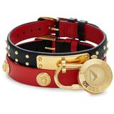 Goldtone Stainless Steel & Double Leather-strap Padlock Watch - Red - Versace Watches