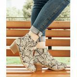 ROSY Women's Casual boots Snakeskin - Beige Snake Laced-Side Ankle Boot - Women