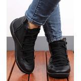 RXFSP Women's Casual boots Black - Black Elastic-Strap Leather Ankle Boot - Women