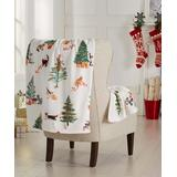 Great Bay Home Throws Holiday - White & Green Holiday Cats Christmas Velvet Plush Throw