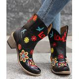 BUTITI Women's Western Boots BLACK - Black & Red Embroidered 'Love' Cowboy Boots - Women