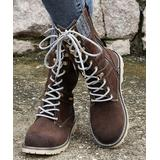 PAOTMBU Women's Casual boots BROWN - Brown & Gray Sweater Cuff Combat Boot - Women