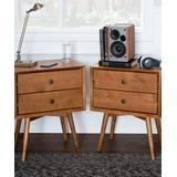 Walker Edison Nightstands Caramel - Caramel Solid Wood Double-Drawer Nightstand - Set of Two