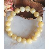My Gems Rock! Women's Bracelets yellow - Yellow Jade Beaded Stretch Bracelet
