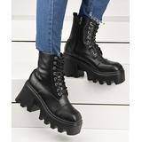 YASIRUN Women's Casual boots Black - Black Platform Combat Boot - Women