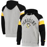 """Men's Starter Heathered Gray/Black Pittsburgh Penguins Homerun Raglan Pullover Hoodie"""