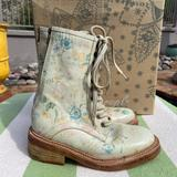 Free People Shoes   Free People Santa Fe Floral Leather Combat Boot   Color: White   Size: 6